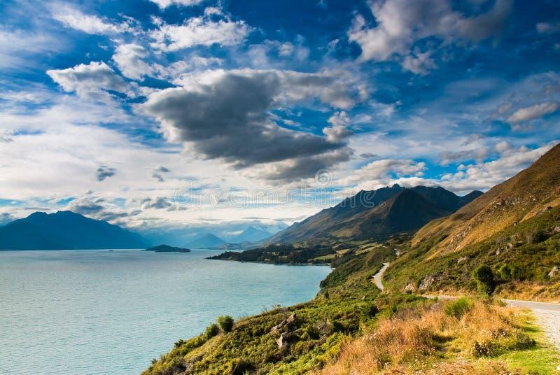 Mountain scenery at lake pukaki royalty free stock photography