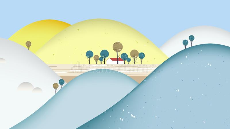 Mountain scenery landscape, small house surrounded by colorful mountains stock illustration