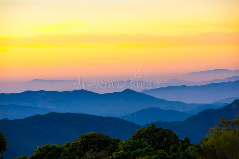 Mountain scenic with fog in , Layer from nature in the. Mountain scenic with fog in Thailand , Layer from nature in the morning stock image