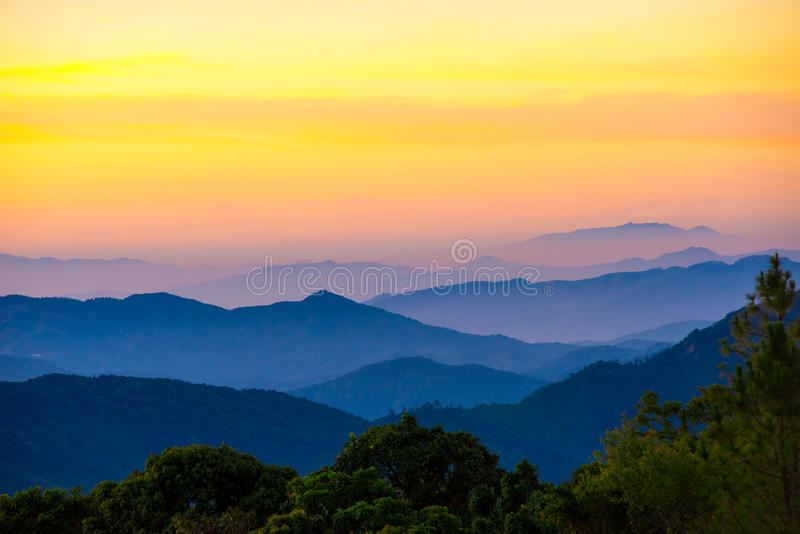 Mountain scenic with fog in Thailand , Layer from nature in the. Mountain scenic with fog , Layer from nature in the morning royalty free stock image