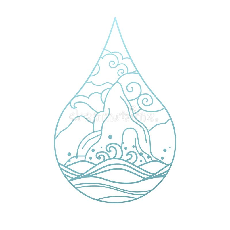 Drop of water. Vector linear illustration on white background royalty free illustration