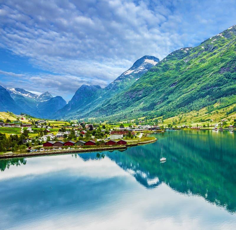 Mountain seascape, Olden village, Norway. Mountain village landscape, Olden, Norway royalty free stock photo