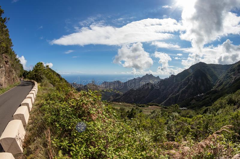 Mountain serpentine. Narrow winding road. The path from Taganana village to Santa Cruz de Tenerife. Stunning view from above. Fish royalty free stock photography