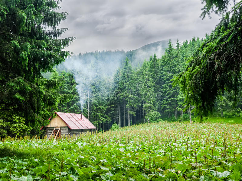 Mountain shelter in Carpathians during inclement weather. Small wooden mountain shelter in a small clearing in the forest during inclement weather. Carpathians stock photography
