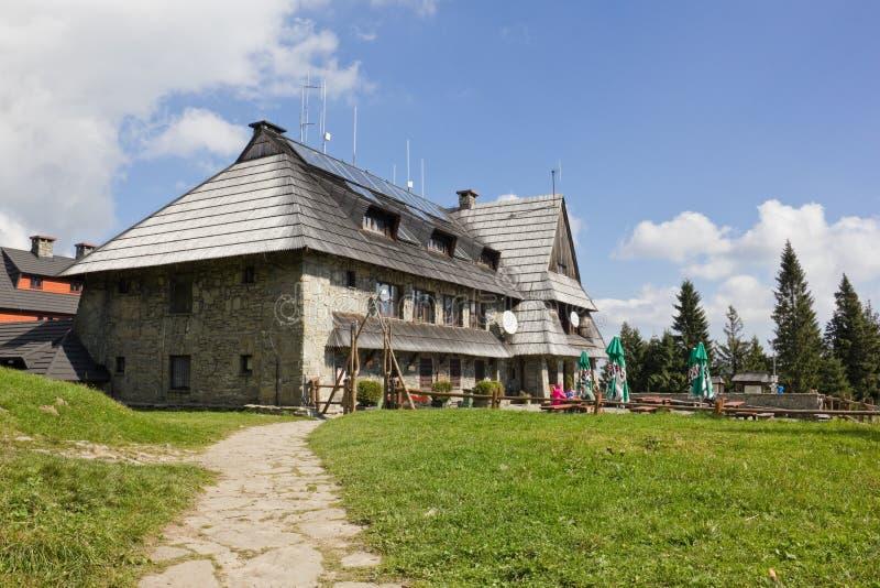 Mountain shelter on the top of Turbacz Mountain, Poland royalty free stock photo