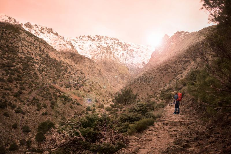 Snow, mountain, climbing and adventure royalty free stock photos