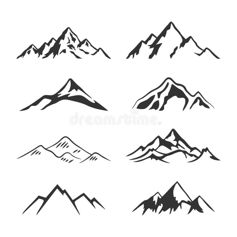 Free Mountain Silhouette Clipart Collection Set Royalty Free Stock Photo - 162922835