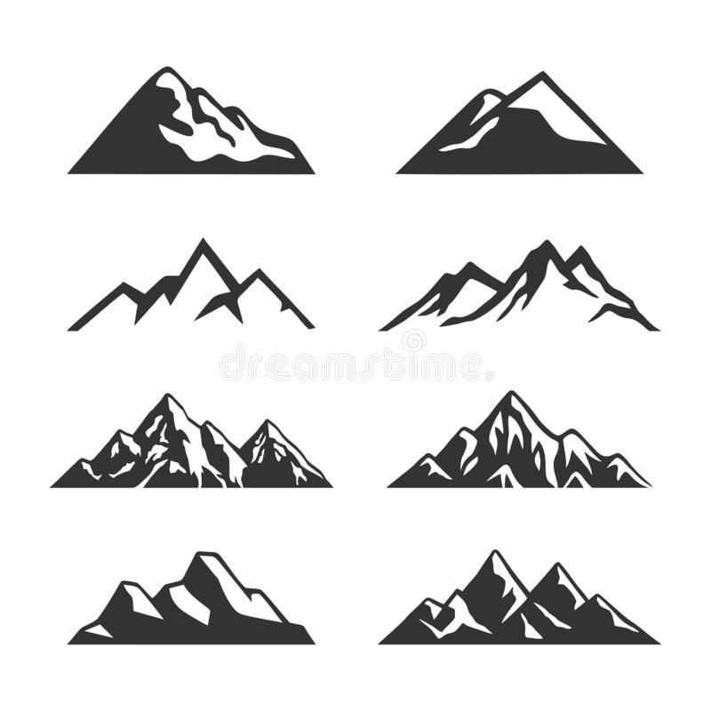 Free Mountain Silhouette Clipart Vector Set Stock Photo - 162924870