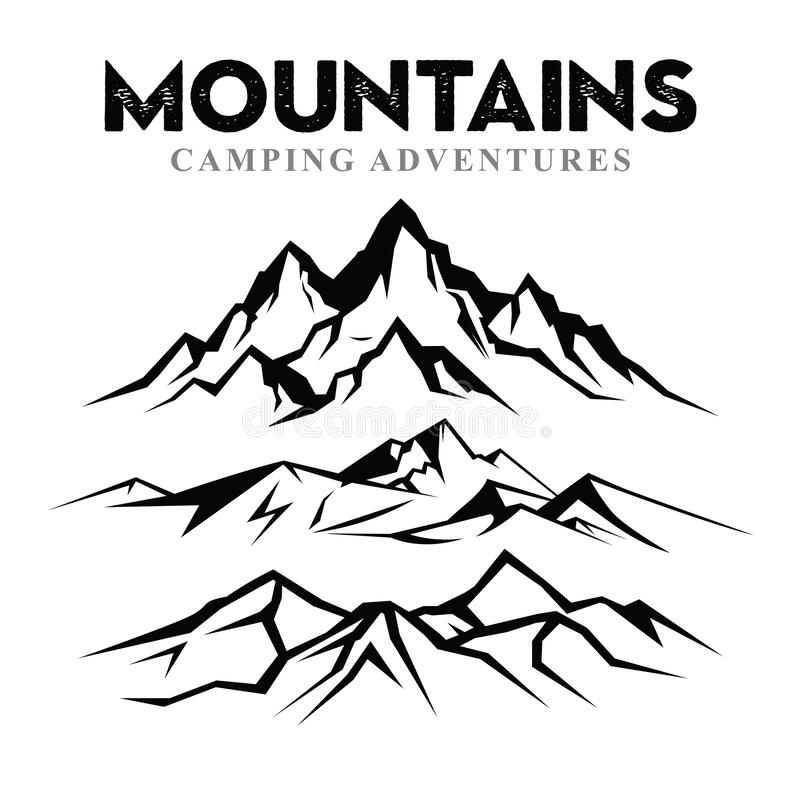 Free Mountain Silhouette Set Nature Or Outdoor Camping Vector 1 Stock Image - 190930241