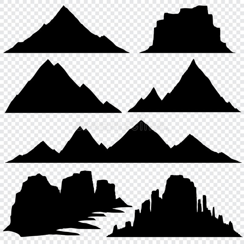 Mountain silhouette vector skyline panoramic view royalty free illustration