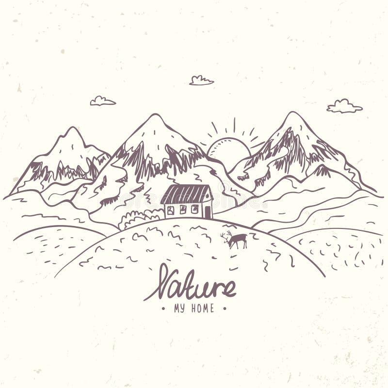 Mountain sketch vector vector illustration