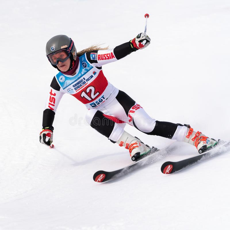 Mountain skier skiing down mount slope. Russian Alpine Skiing Cup, giant slalom royalty free stock images