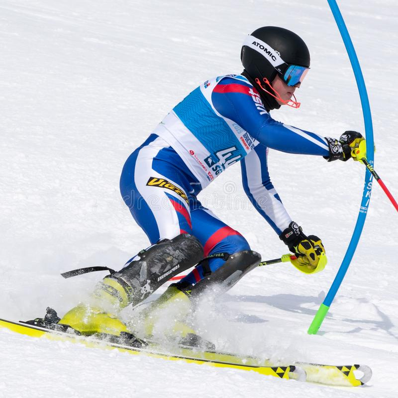 Mountain skier skiing down mount slope. Russian Alpine Skiing Cup, slalom. MOROZNAYA MOUNTAIN, KAMCHATKA, RUSSIA - MARCH 28, 2019: Mountain skier Fedor Fedoryan stock photo