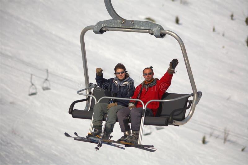 Mountain skiers royalty free stock photo