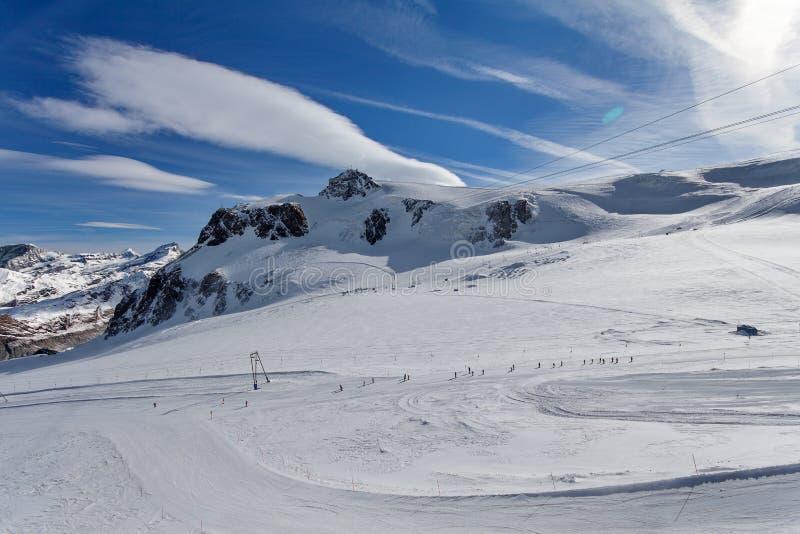 Skiers, Mountain Scenery in Cervinia Ski Resort, Cervinia