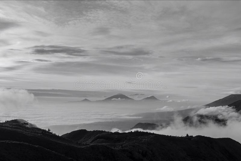 Mountain and sky in black and white royalty free stock photography
