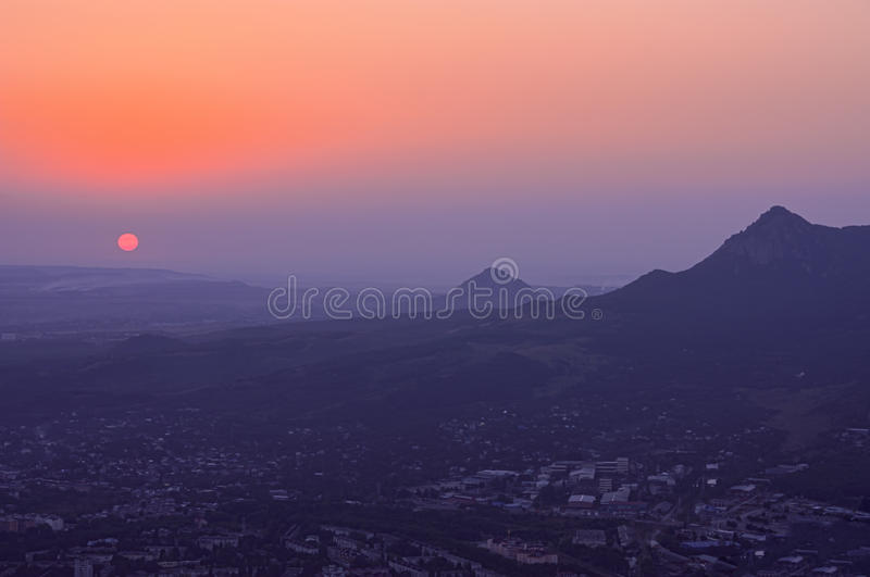 Mountain - Small Tau. Caucasian mineral waters, Russian Federation. Mountain - Small Tau at sunset. Caucasian mineral waters, Russian Federation royalty free stock photo