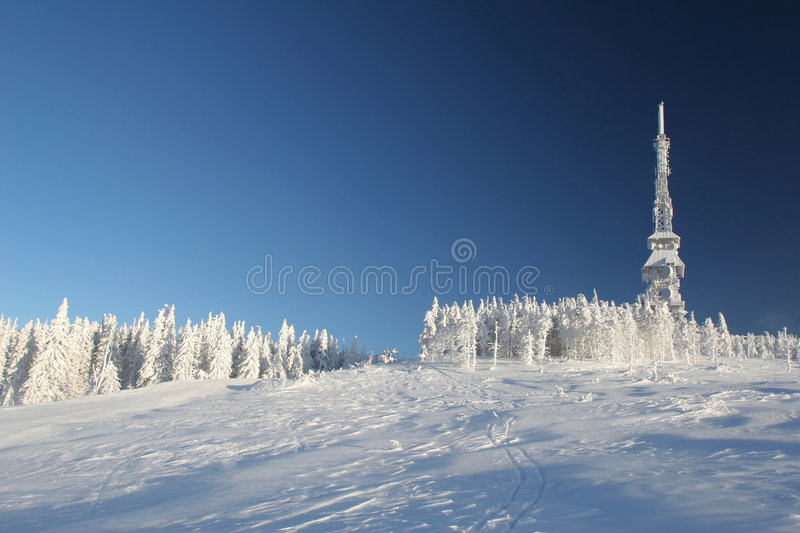 Mountain in the snow stock image