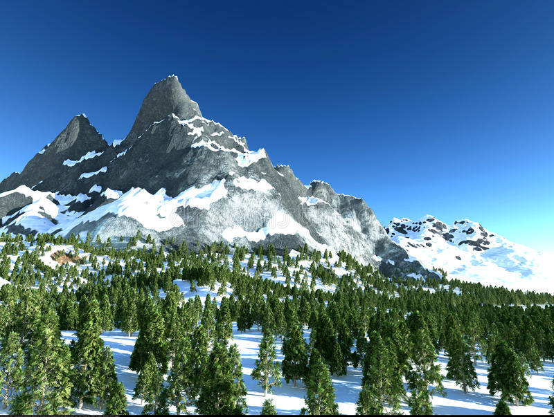 Download Mountain with snow stock illustration. Illustration of peak - 25784353