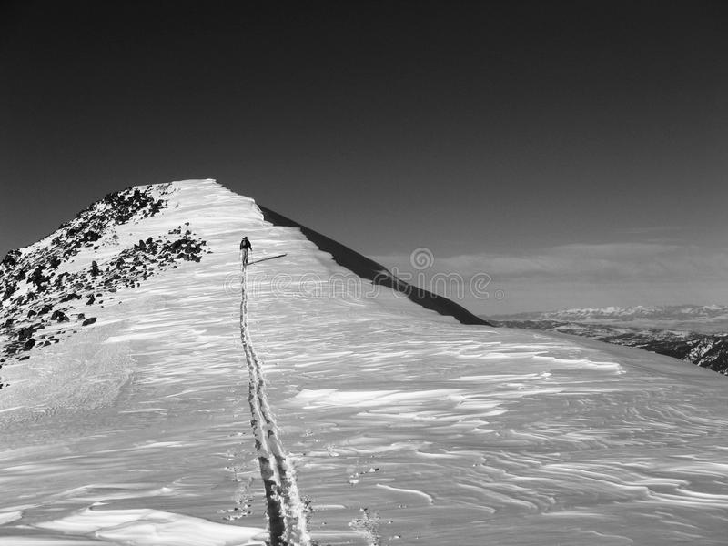 Mountain With Snow Cornice And Skier royalty free stock images