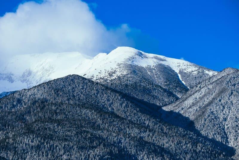 Mountain snow peak, beautiful natural winter backdrop. Ice top o stock image