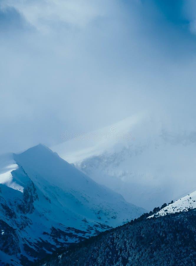 Mountain snow peak, beautiful natural winter backdrop. Ice top o stock photo