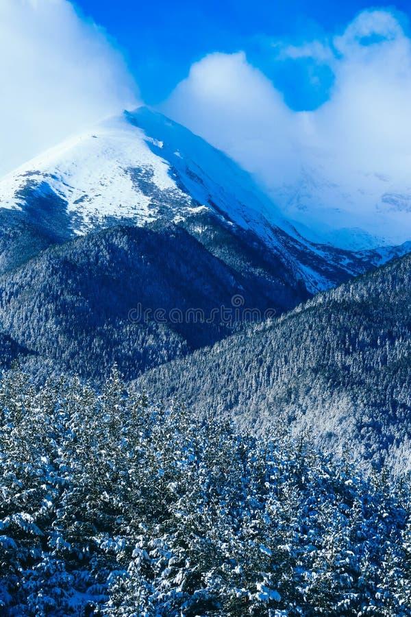 Mountain snow peak, beautiful natural winter backdrop. Ice top o stock photos