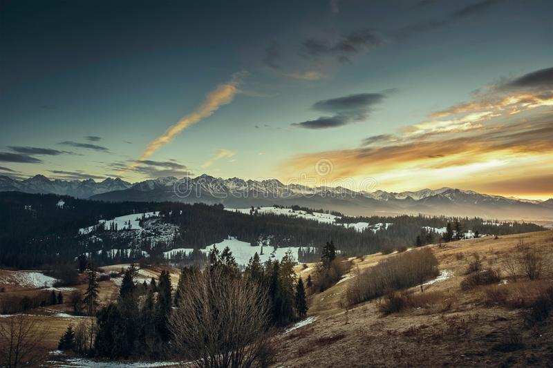 Mountain Snow Peak Evening Sunset Clouds Valley stock image