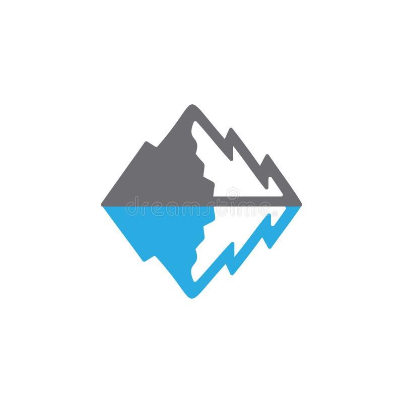 Mountain snow sea ocean shadow logo vector royalty free illustration