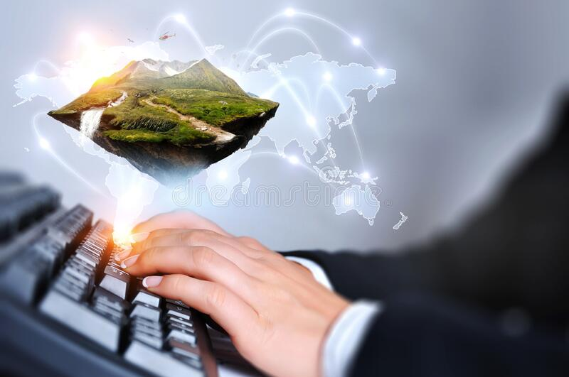 Mountain with snow top and keyboard royalty free stock images