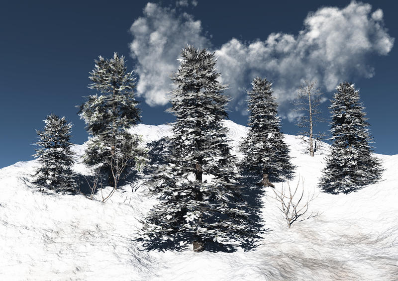 Mountain snow and trees royalty free illustration