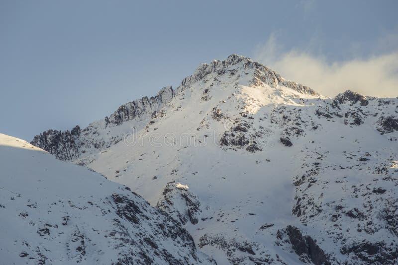 Mountain snowy peak in evening light. In Romanian Carpathian Mountains royalty free stock photos