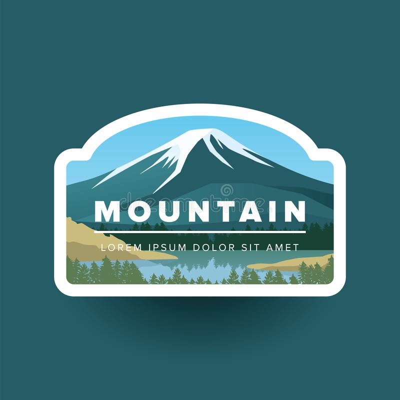 Mountain with snowy peak and river vector landscape in round. Vector illustration mountain valley, lake and green forest royalty free illustration