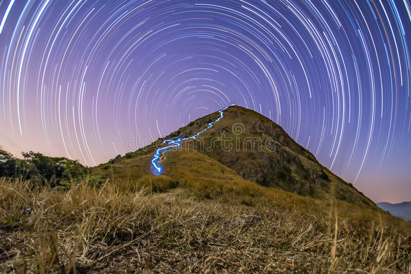 Mountain and Star trail stock photos