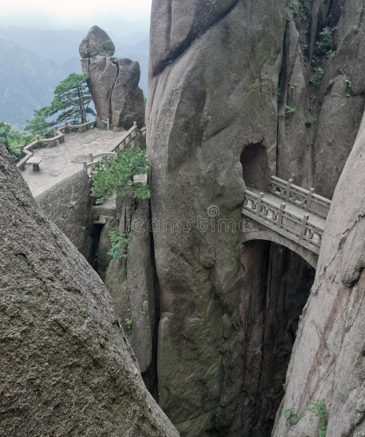 Mountain stone bridge, Huangshan, China stock image