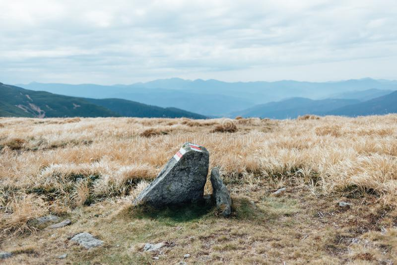 Mountain stone on top of the mountain. Plexus mountain ranges with the sky and a great view for shooting a series of photos royalty free stock photo