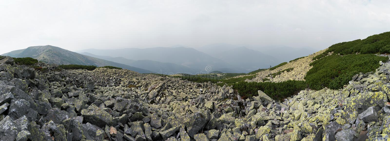 Download Mountain Stony Overcast View Stock Image - Image of bush, lichen: 3414633