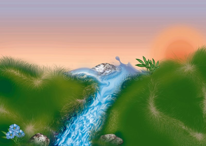 Mountain stream. Highly detailed cartoon background 38 - illustration vector illustration