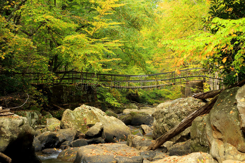 Mountain stream footbridge stock photography
