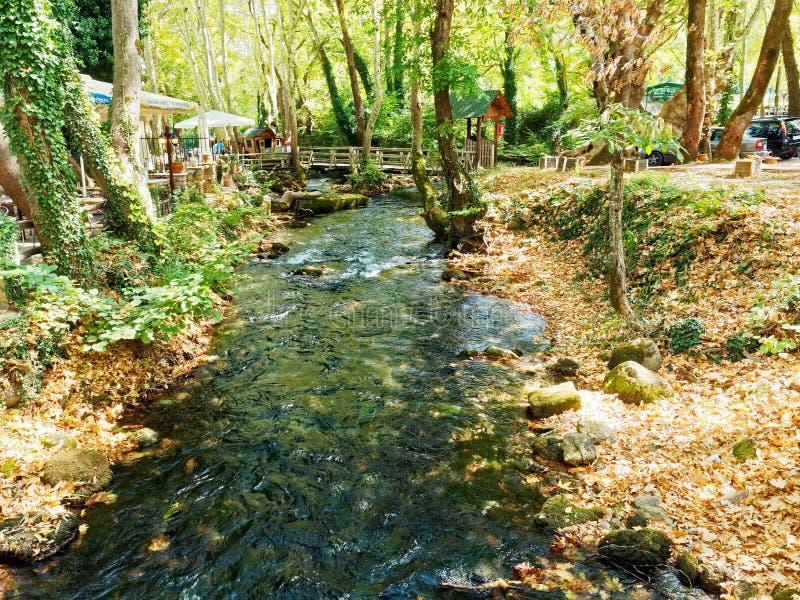 Mountain Stream, Naoussa, Macedonia, Greece. Naousa Νάουσα,is a city in the Imathia regional unit of Macedonia, Greece stock images