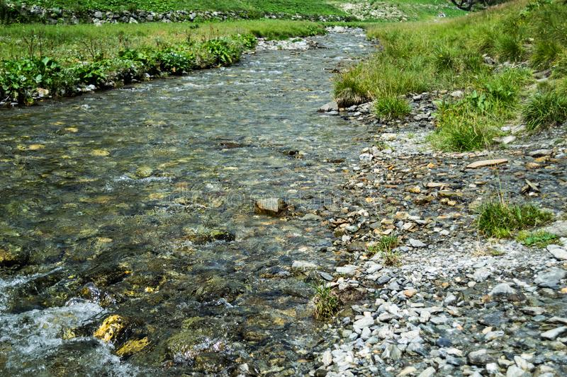 Mountain stream. Relax and peace. stock photos