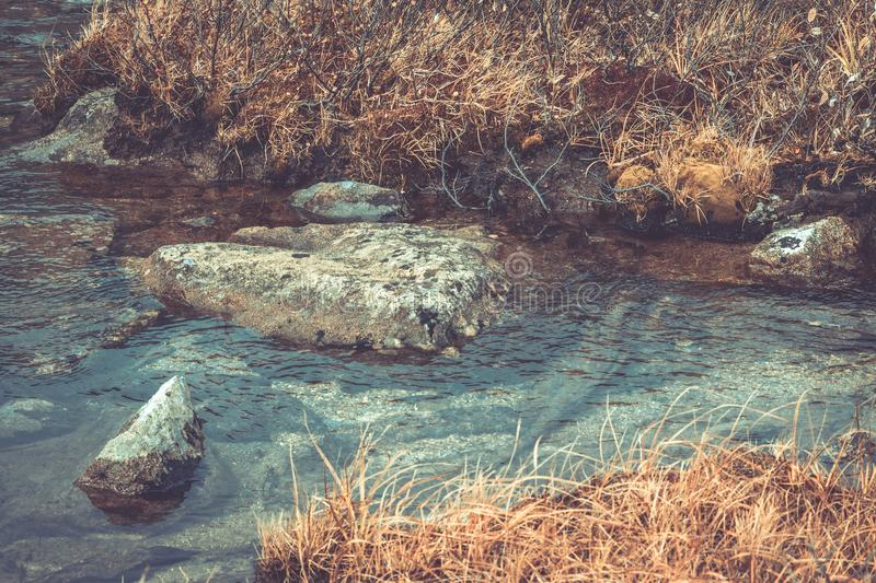Mountain stream in the rocks stock images