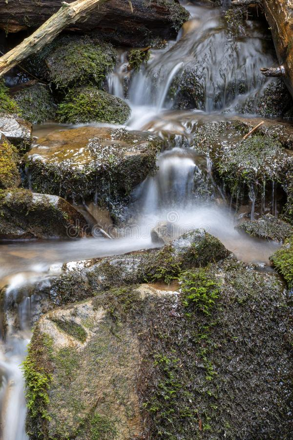 Mountain stream water flow with green moss on wet rocks. River cascade with huge stones. Mountain stream water flow with green moss on wet rocks. River cascade stock images