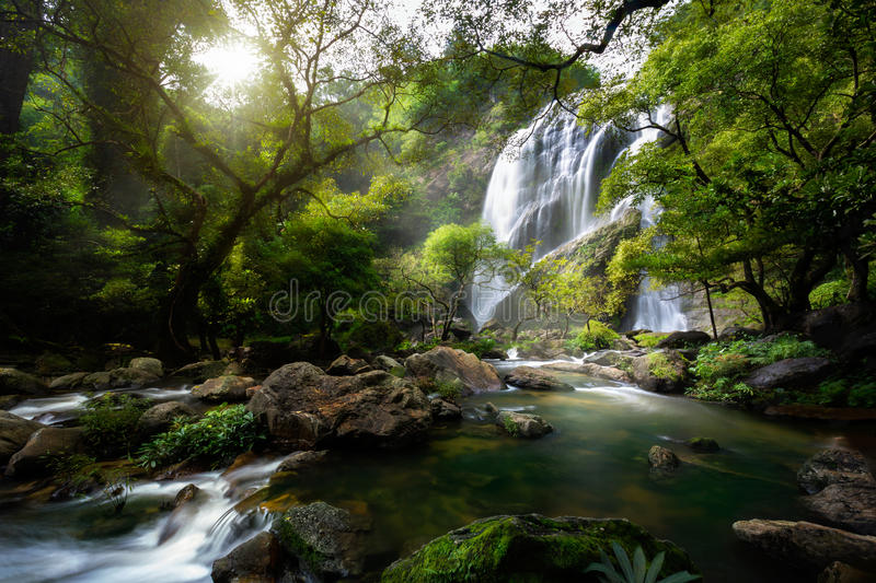 Mountain stream and Waterfall stock photo