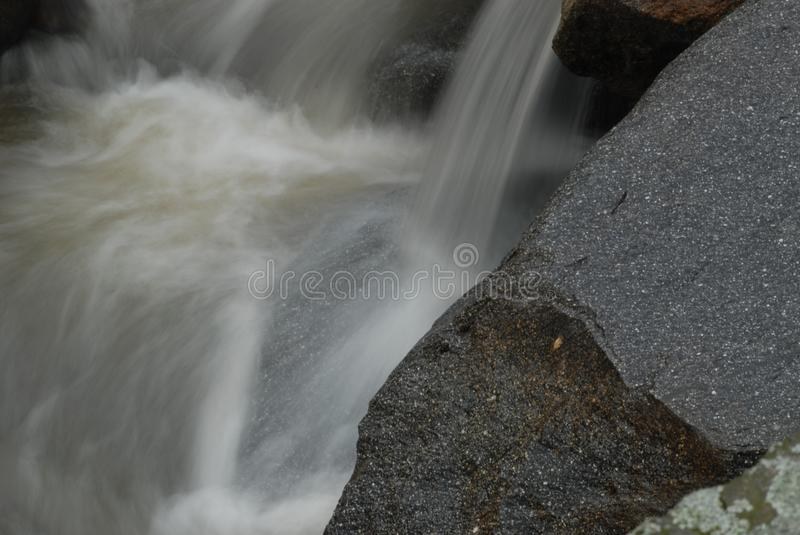 Mountain Streams. Mountain stream, gurgling water in different poses and with different expressions.Small waterfall royalty free stock image