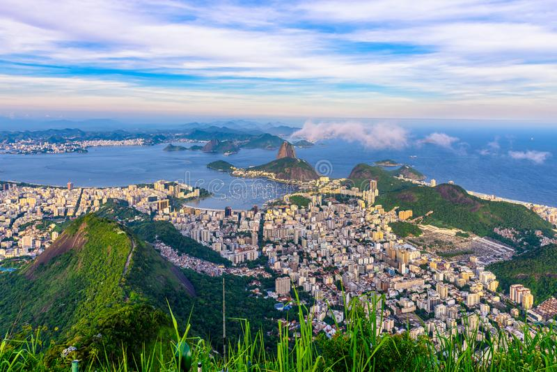 Mountain Sugarloaf and Botafogo in Rio de Janeiro, Brazil. The mountain Sugarloaf and Botafogo in Rio de Janeiro, Brazil. One of the main landmark of Rio de stock photos
