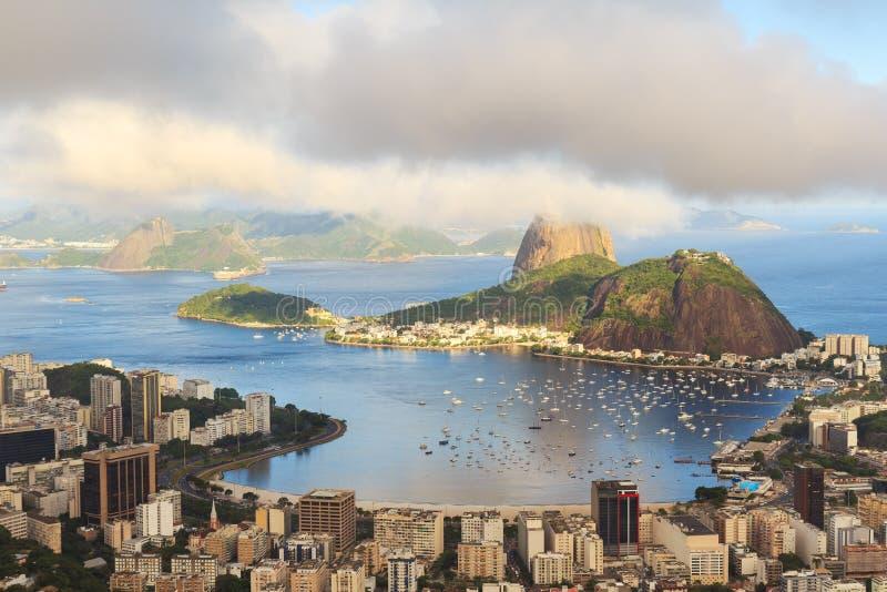 Mountain Sugarloaf in clouds Guanabara bay, Rio de Janeiro royalty free stock photography