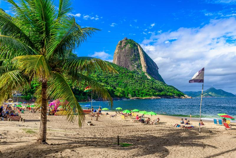 Mountain Sugarloaf and Red beach in Rio de Janeiro royalty free stock photo