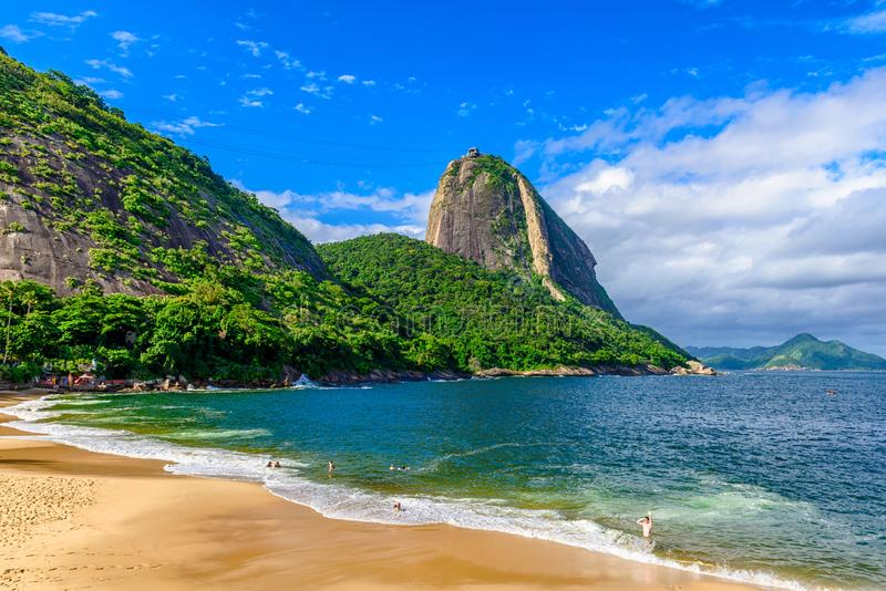Mountain Sugarloaf and Red beach in Rio de Janeiro royalty free stock photos