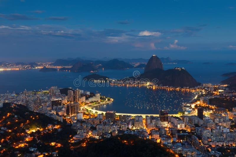 Mountain Sugarloaf, Rio de Janeiro, Brazil. Mountain Sugarloaf and Guanabara bay from viewpoint dona Marta, night view, Rio de Janeiro, Brazil stock photography